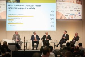 "Results of the live poll during Panel Discussion ""Pipeline Safety"" at ptc 2015 (Strack, Schmidt, Watzka, Hüwener, Venas) (© 2015 Frank Nürnberger)"
